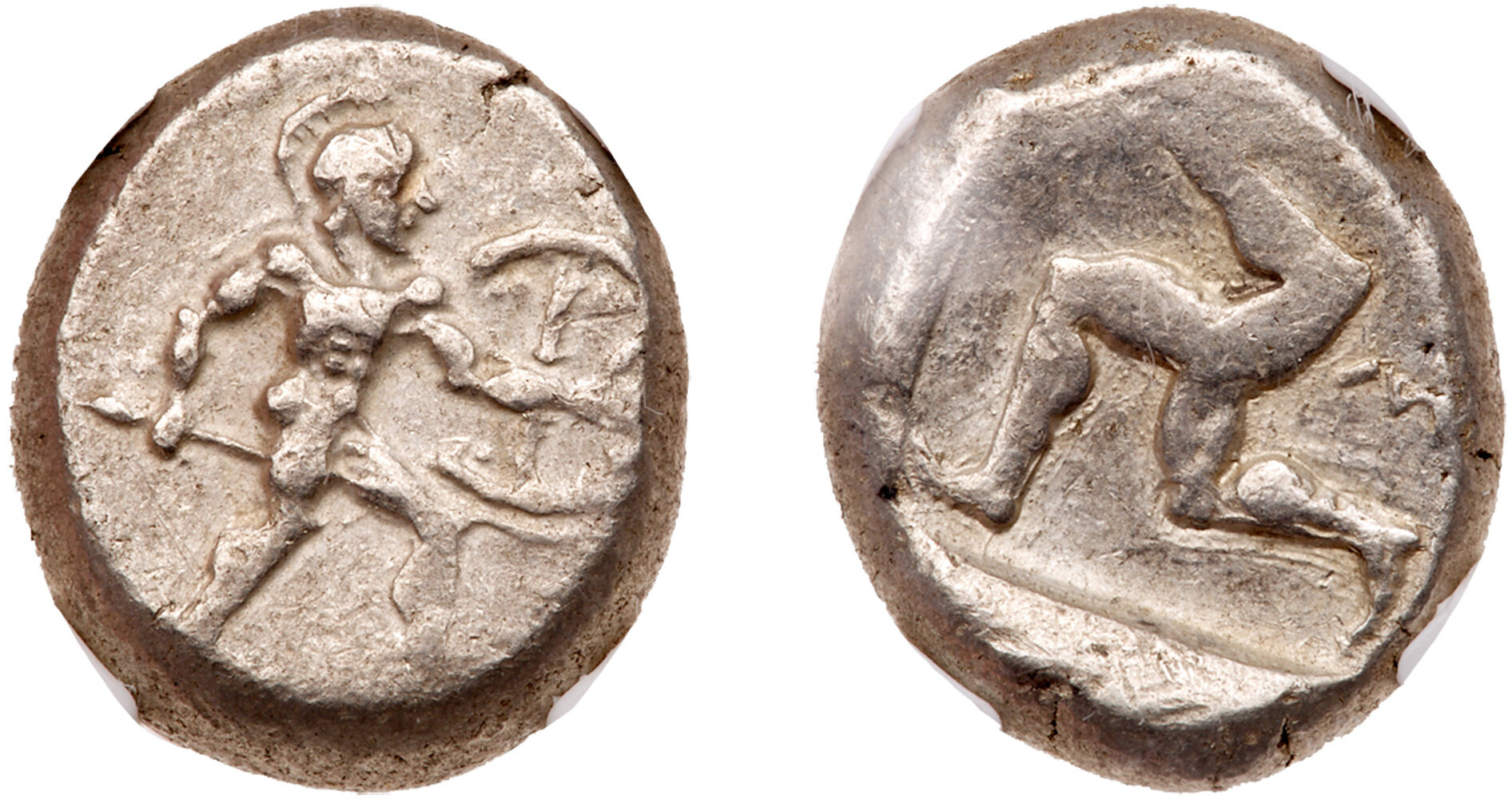 Ancient Greek Pisidia Selge AR Stater Wrestlers Silver