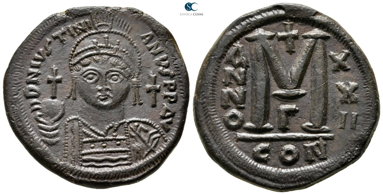Coins & Paper Money Byzantine (300-1400 Ad) Byzantine Empire Justin Half Follis Sophia Thessalonica Ae 21 Nice Coin