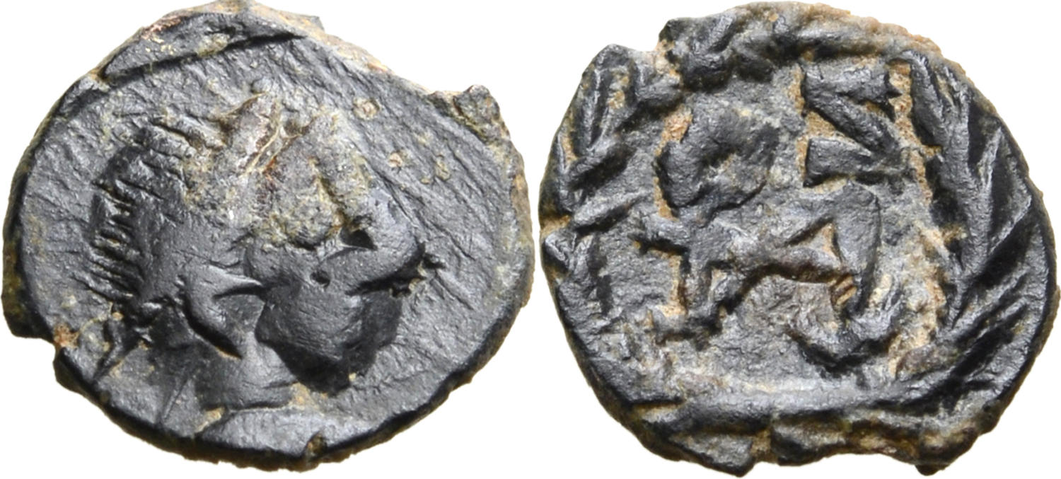 Small Bronze Coin Of The Vandalic Period Ae Nummus Byzantine (300-1400 Ad)