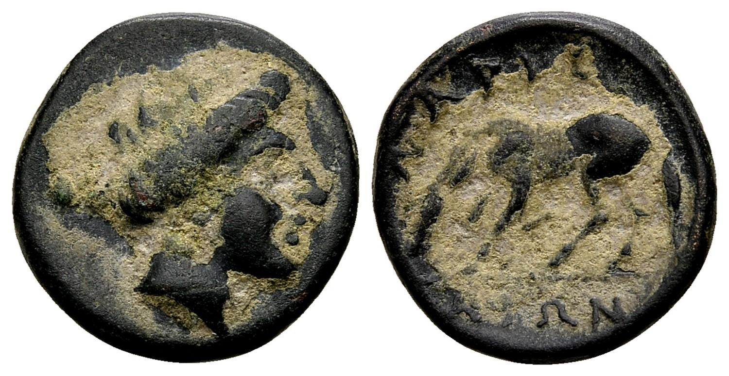 Coins: Ancient Coins & Paper Money Thessaly Larissa ΛΑΡΙΣΑΙΩΝ Nymph Horse Chalkous Ae 14 Nice Coin