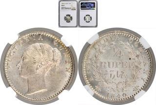 British India Victoria Queen Silver ¼ rupee 1840 divided legend high grade