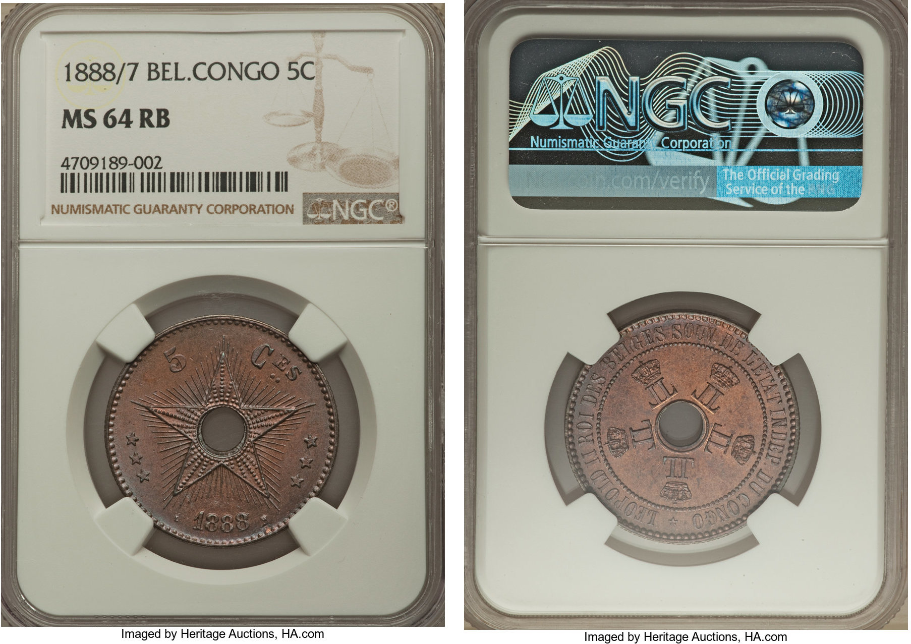 Coins & Paper Money Congo Free State Leopold Ii 1888 1 Centime Ngc Ms65 Rb Red Brown Km# 1