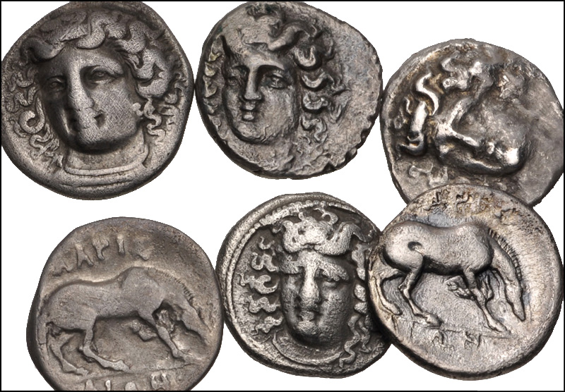 Thessaly Larissa ΛΑΡΙΣΑΙΩΝ Nymph Horse Chalkous Ae 14 Nice Coin Coins: Ancient Greek (450 Bc-100 Ad)