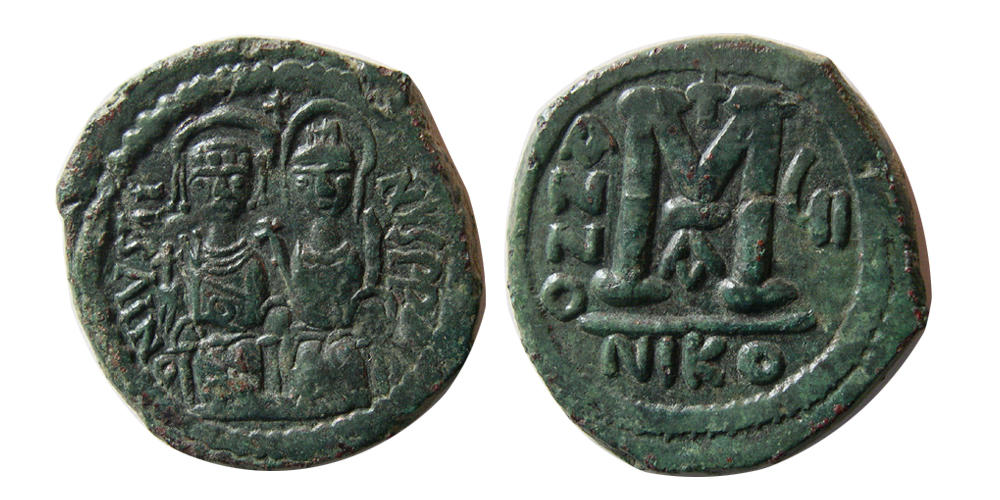 Coins: Ancient Byzantine Bronze Coin Theophilus & Michael Iii Ae Follis 829-842 Ad.