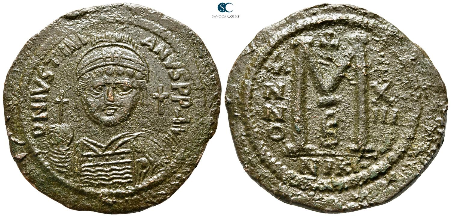 Byzantine (300-1400 Ad) Coins & Paper Money Byzantine Empire Justin Half Follis Sophia Thessalonica Ae 21 Nice Coin