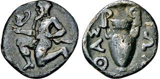 411-350 BC Thrace Thasos Satyr Kneeling Left Silver AR Obol