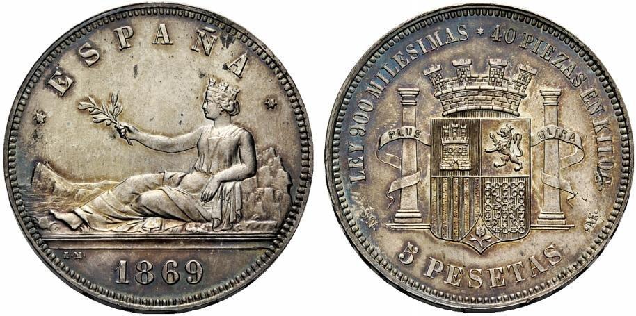 5 pesetas de 1869 del gobierno provisional  Image01016