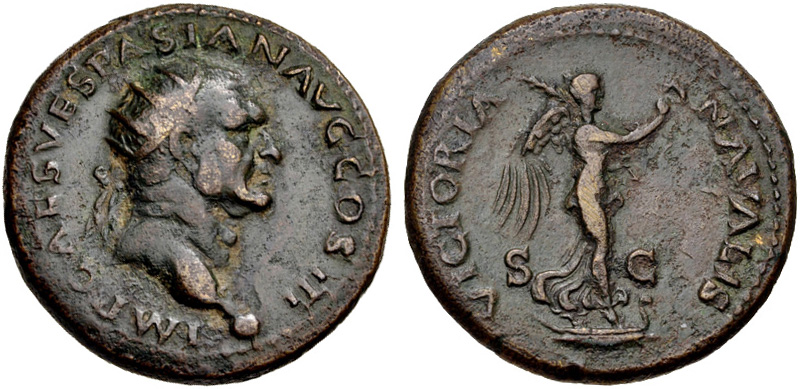 A corroded copper-alloy coin with a Roman emperor's profile on one side and the goddess Victoria standing on a ship's prow on the other